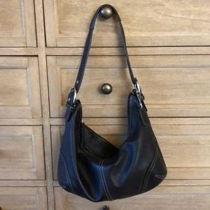 Leather Coach Shoulder Tote Bag